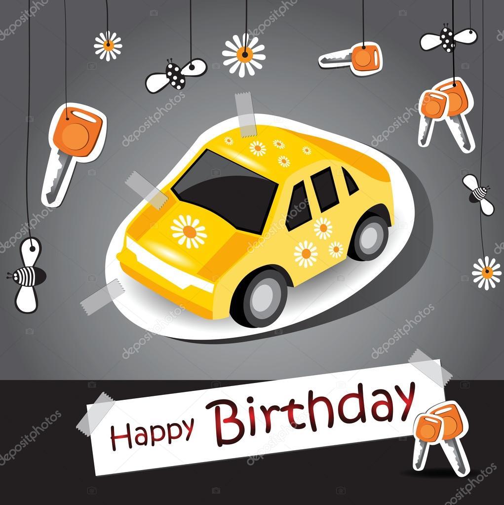 Alles Gute Zum Geburtstag Lustige Karte Auto Stockvektor