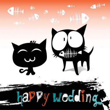 Happy wedding cats clip art vector