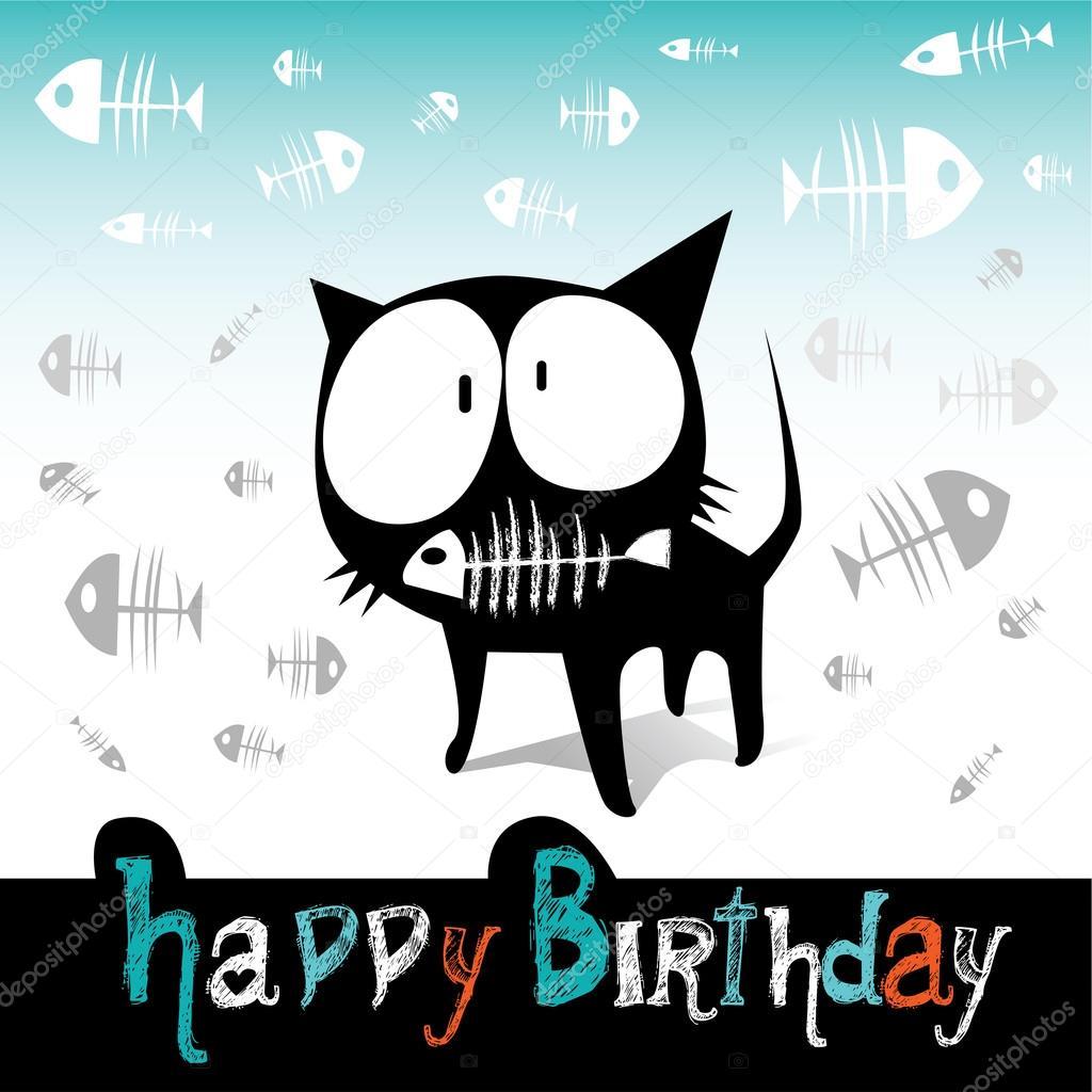 Alles Gute Zum Geburtstag Lustige Katze Und Fisch Stockvektor
