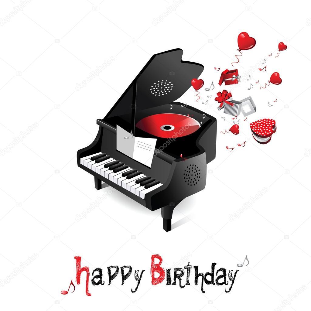 Gelukkige Verjaardag Piano Stockvector C Novkota1 16369469