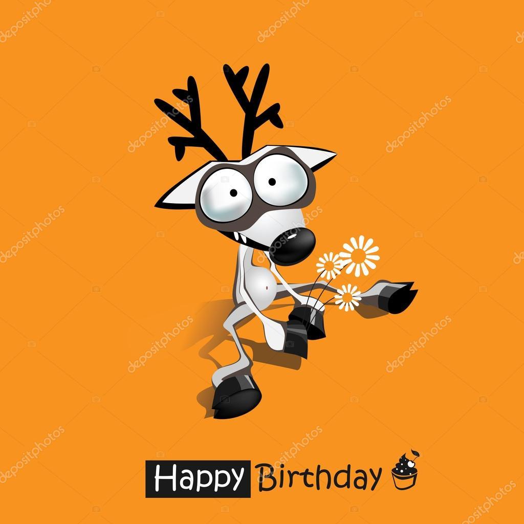 boldog szuletesnapot vicces Boldog születésnapot mosoly vicces szarvas — Stock Vektor  boldog szuletesnapot vicces