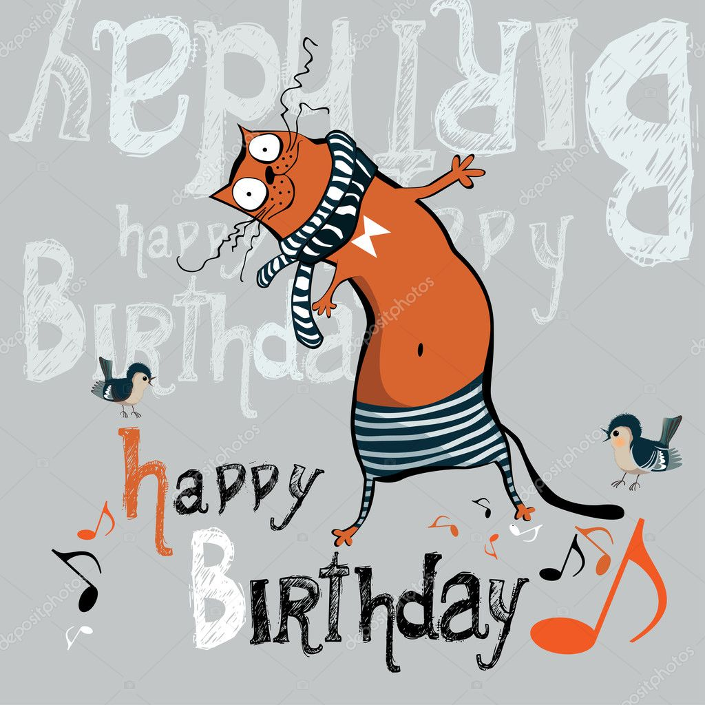 Happy birthday funny card cat stock vector novkota1 36900311 happy birthday funny card cat stock vector bookmarktalkfo Image collections