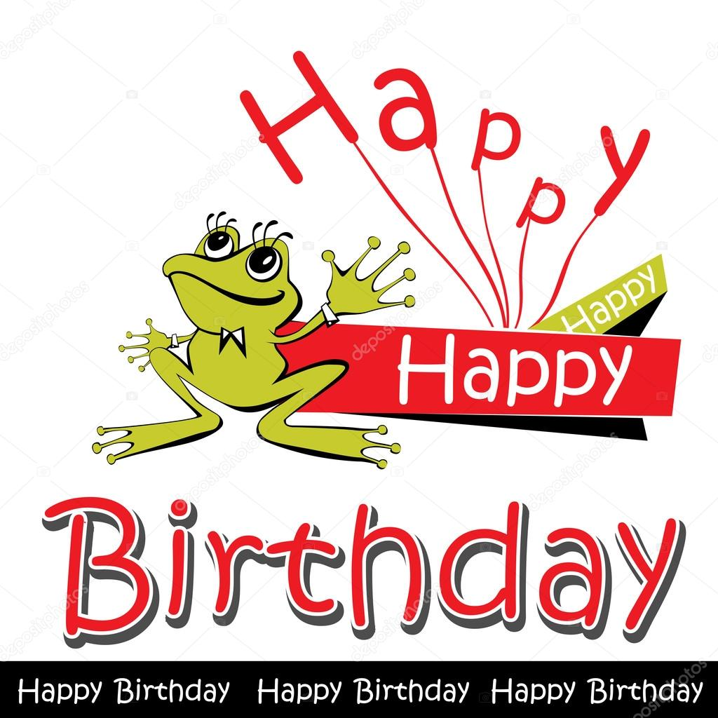 Gelukkige Verjaardag Kaart Kikker Stockvector C Novkota1 36900373