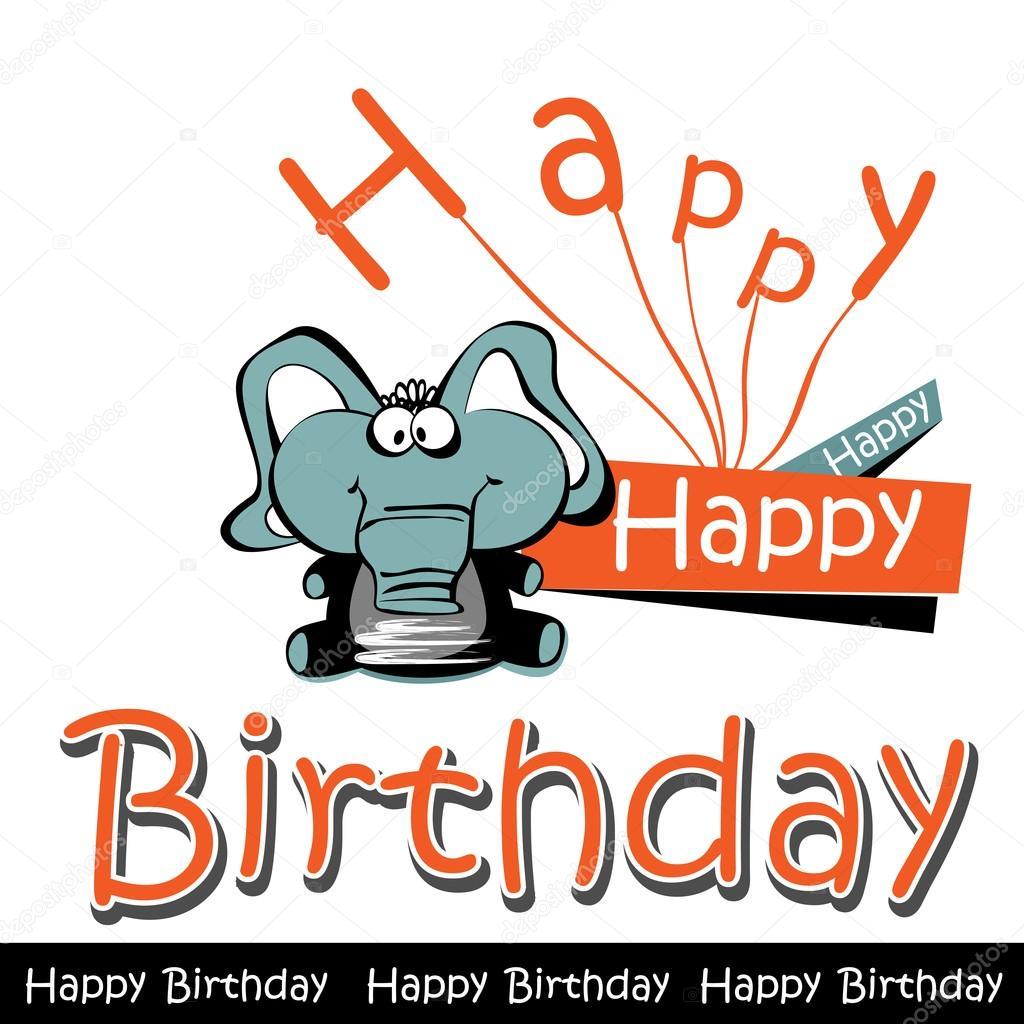Gelukkige Verjaardag Kaart Olifant Stockvector C Novkota1 36900391
