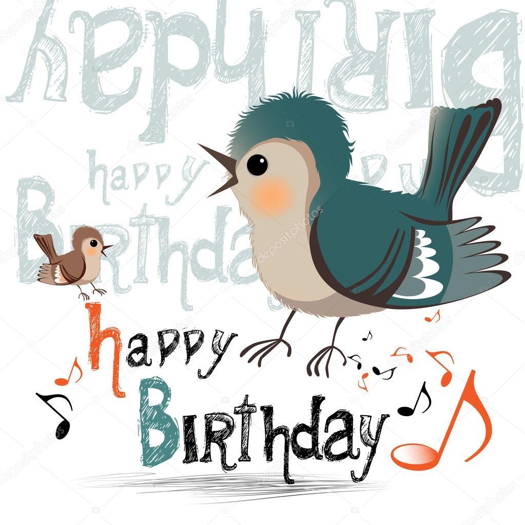 Gelukkige Verjaardag Vogels Glimlach Stockvector C Novkota1 36900441