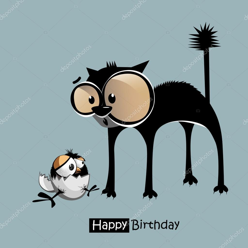 happy birthday funny bird cat smile u2014 stock vector novkota1