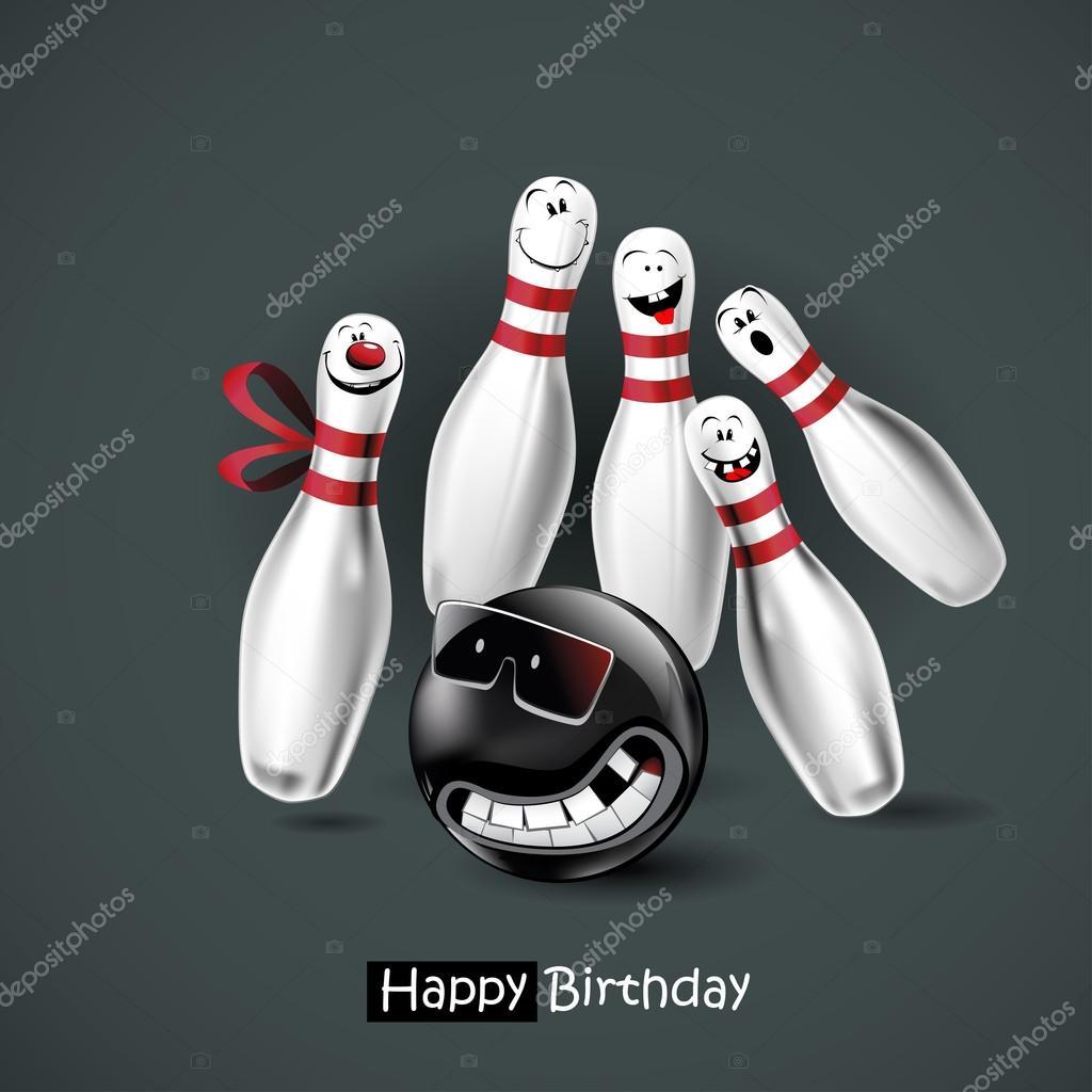 Szczęśliwy Urodziny Uśmiech Kręgle Grafika Wektorowa Novkota1