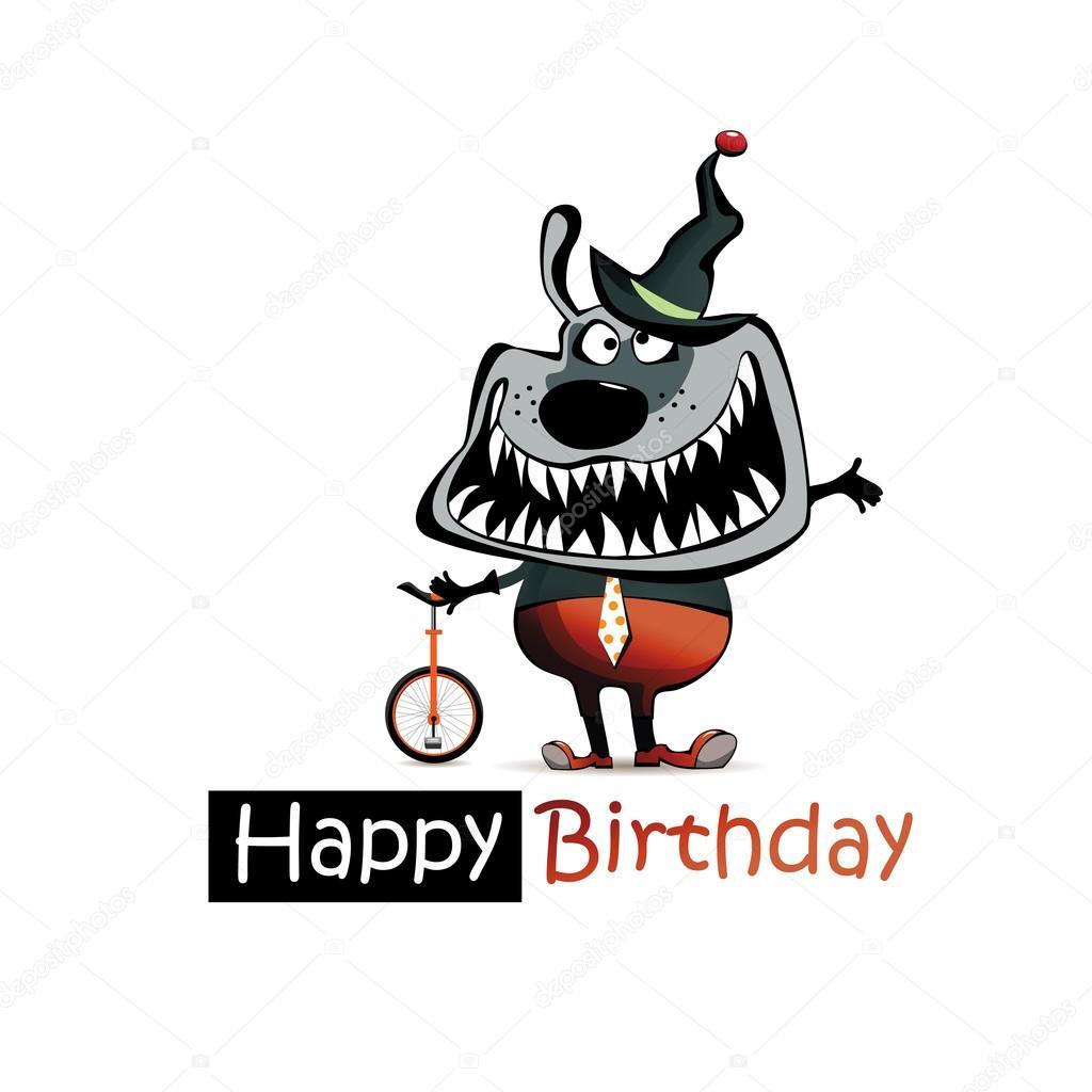 Alles Gute Zum Geburtstag Lacheln Lustige Hund Clown Stockvektor