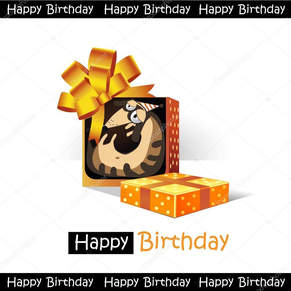 Grattis På Födelsedagen Leende Gåva Hund Roliga
