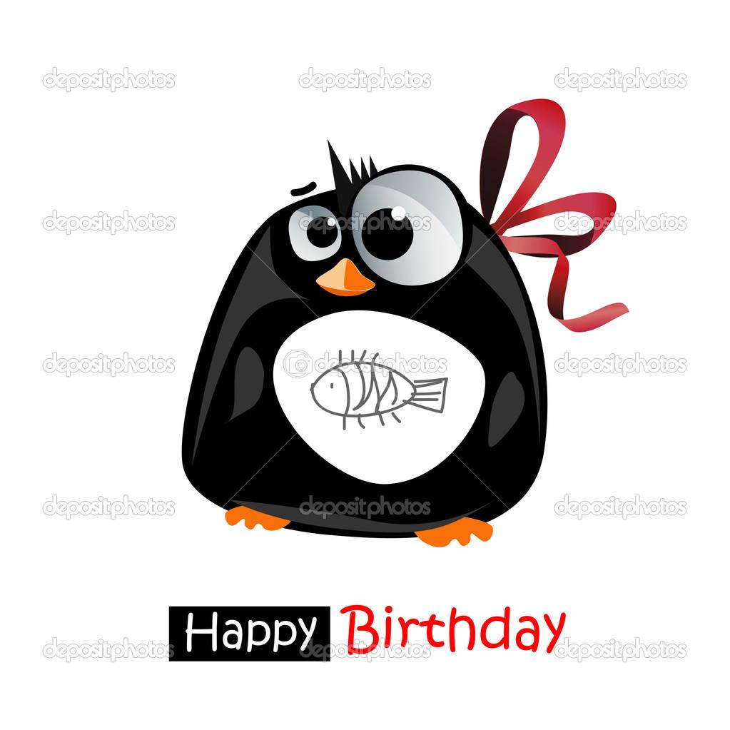 Alles Gute Zum Geburtstag Lacheln Pinguin Geschenk Stockvektor