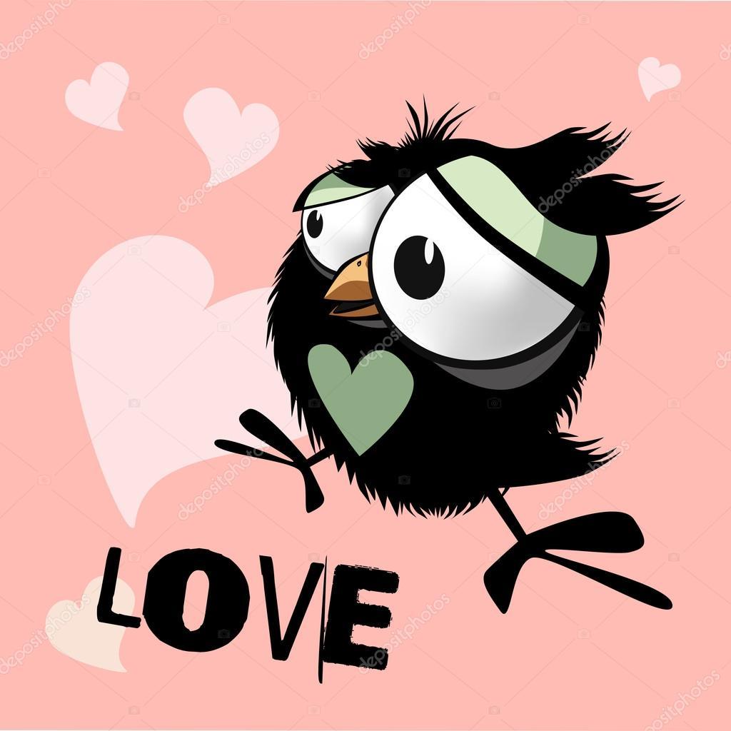 Amour Drôle De Petit Oiseau Joyeux Anniversaire Image Vectorielle