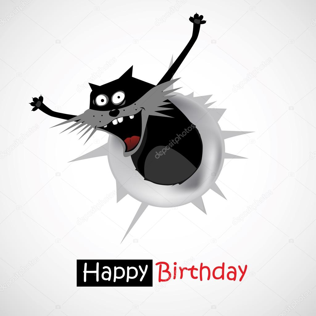 Smile Happy Birthday Gift Cat Stock Vector