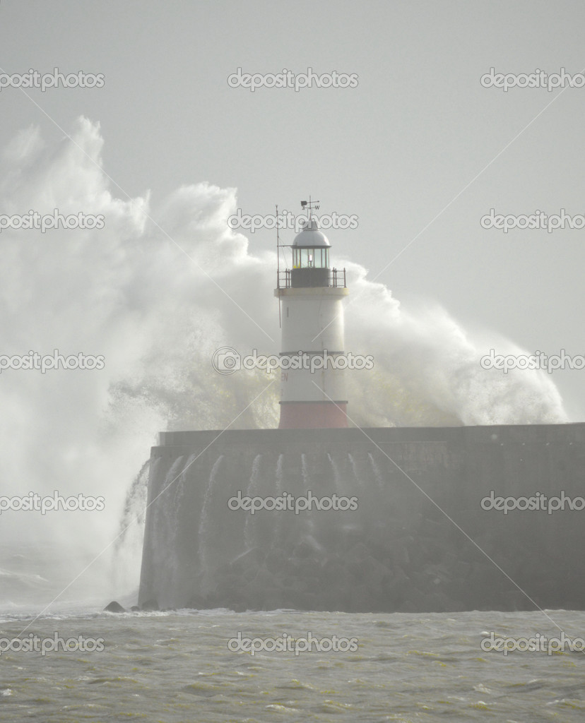 Rough Seas at Newhaven Harbour and Lighthouse