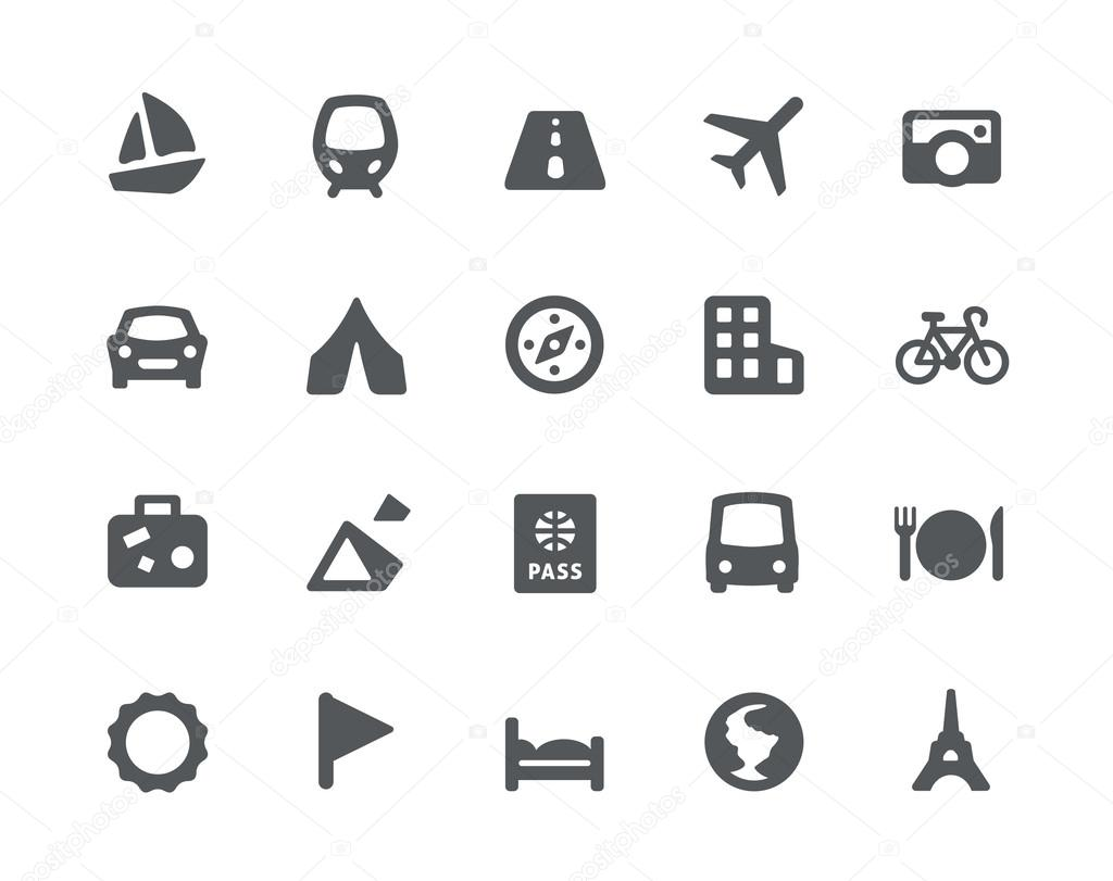 Traveling and transport icons set