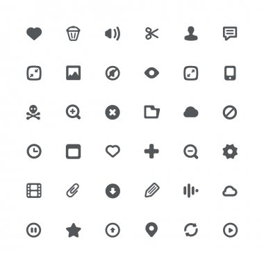 36 icons for file features and options