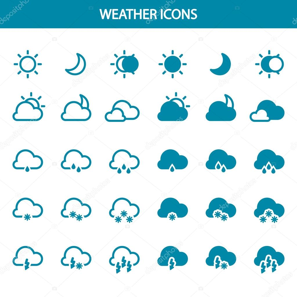 Set vector weather icons