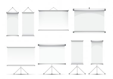 Set of roll up banner illustration stock vector