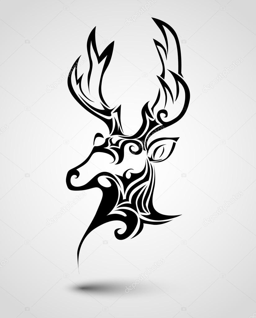 Tatouage De Tête De Cerf Image Vectorielle Robin2b 43020151