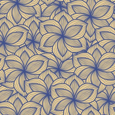 Seamless abstract hand-drawn pattern, floral background.