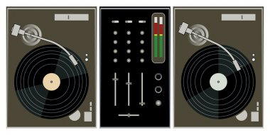 Dj turntables and mixer