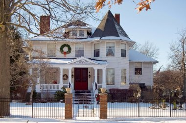 Victorian house at Christmas time