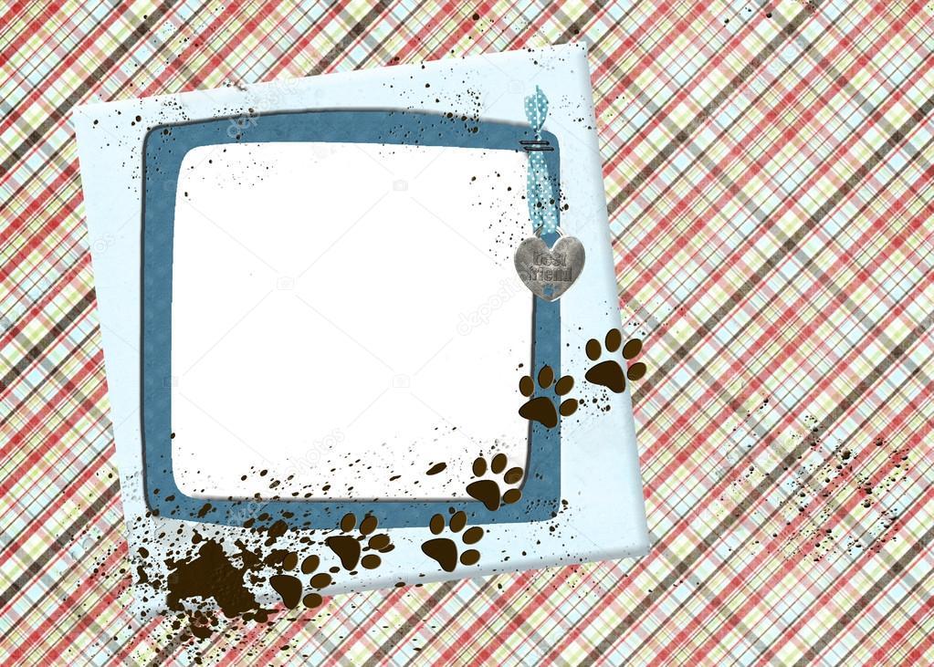 perro fangoso imprime en armazón azul — Foto de stock © jentara ...