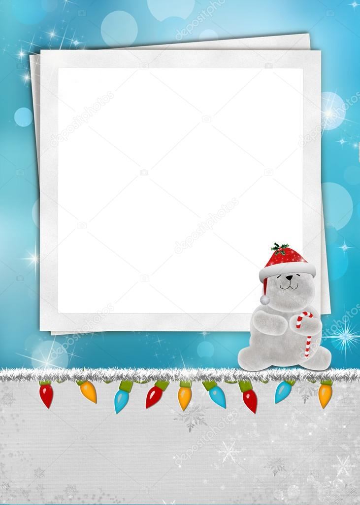 Christmas polar bear on old frame — Stock Photo © jentara #28360105