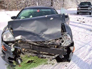 Car wreck in winter