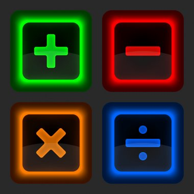 Colored web button with math symbols.