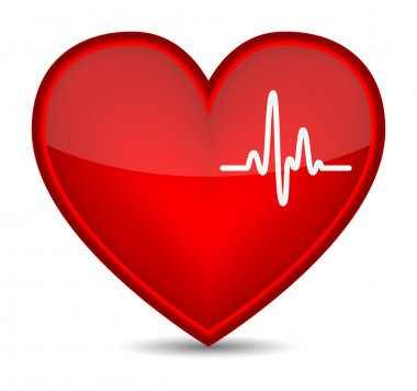 Cardiogram on red heart shape