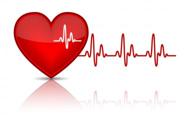 Illustration of heart with heartbeat, electrocardiogram. Vector illustration stock vector