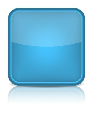 Blue glossy blank internet button.