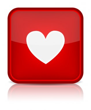 Red glossy web button with heart sign.