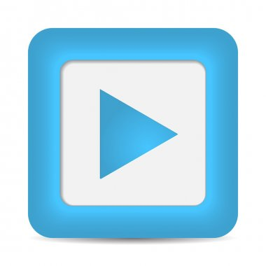 Play icon on blue glossy button.