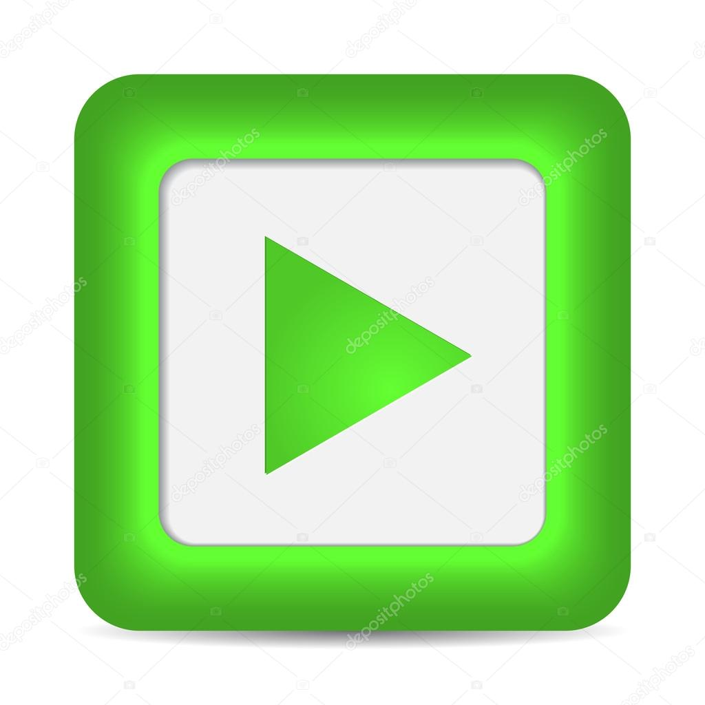Play icon on green glossy button.