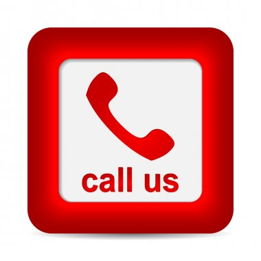 Call Us. Phone icon on red button. Vector