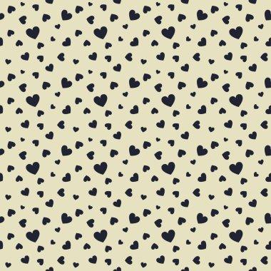 Seamless stylish pattern with black hearts