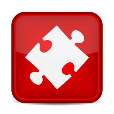 Puzzle piece icon on square red button.