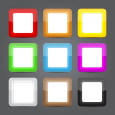 App icons glass set. Glossy button icons.