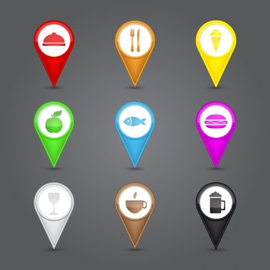 App icons glass set. Glossy round 3D map pin with food sign.