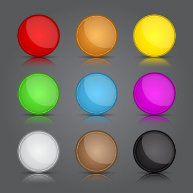 App icons background set. Glossy web button icons.