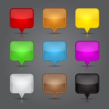 App icons set. Glossy blank map pin icon web button.