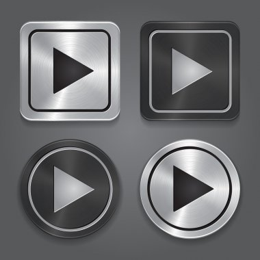 set app icons, realistic metallic Play button with highlights.
