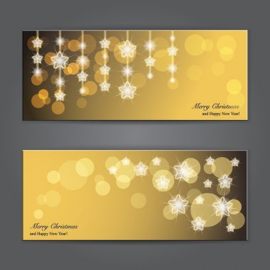 Set of Elegant Christmas banners with stars.