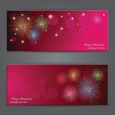 Set of Elegant Christmas banners with fireworks.