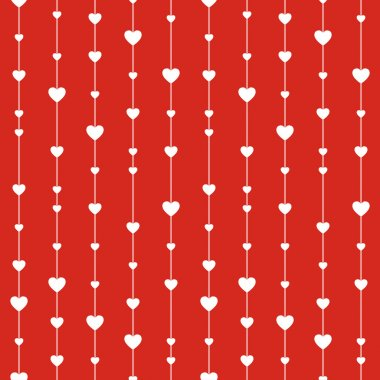 Seamless stylish red pattern with hearts.