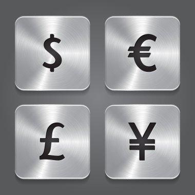 Metal icons design - Dollar, Yen, Euro, Pound.