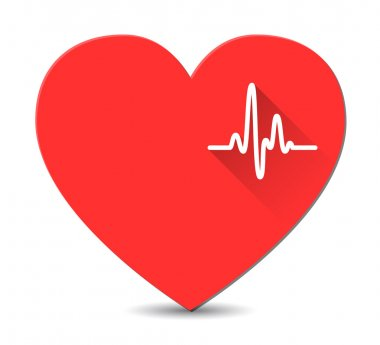 Cardiogram on red heart in flat style with long shadows. Vector stock vector