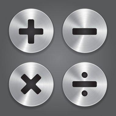 Metal Icons Math Symbols.