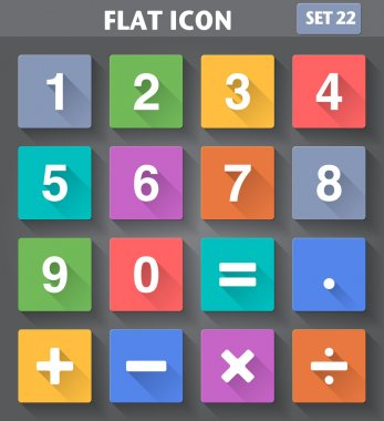 Numbers and Mathematical Icons set in flat style with long shado